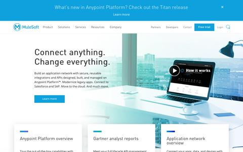 Screenshot of Home Page mulesoft.com - MuleSoft   Integration Platform for Connecting SaaS and Enterprise Applications - captured June 15, 2018