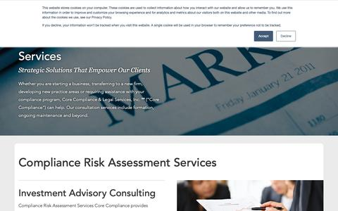 Screenshot of Services Page corecls.com - Compliance Risk Assessment Services & Regulatory Compliance Consulting | CCLS - captured Nov. 11, 2018