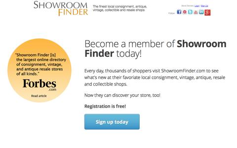 Screenshot of Signup Page showroomfinder.com - List your shop for FREE on Showroom Finder | Membership - captured Sept. 18, 2014