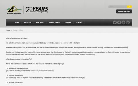 Screenshot of Privacy Page gcsenergy.ca - Privacy Policy  |  GCS Energy Services - captured Oct. 1, 2014