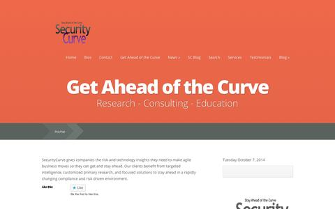 Screenshot of Home Page securitycurve.com - SecurityCurve   - captured Oct. 7, 2014