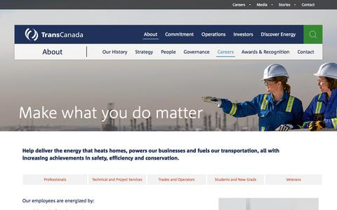 Screenshot of Jobs Page transcanada.com - TransCanada - Careers - captured July 12, 2018