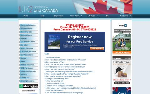 Screenshot of FAQ Page uk2novascotia.com - UK 2 Nova Scotia and Canada the Premier Settlement Consultants for Nova Scotia, Canada for UK residents. - captured Sept. 30, 2014