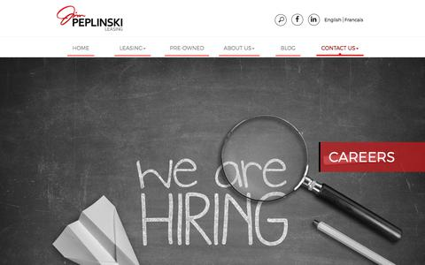 Screenshot of Jobs Page jimpeplinski.ca - CAREERS - - captured Oct. 16, 2017