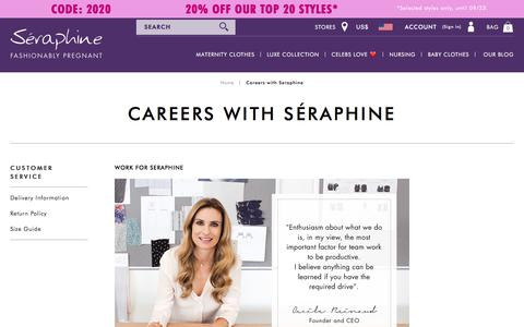 Screenshot of Jobs Page seraphine.com - Careers with Seraphine | Seraphine US - captured Sept. 20, 2018