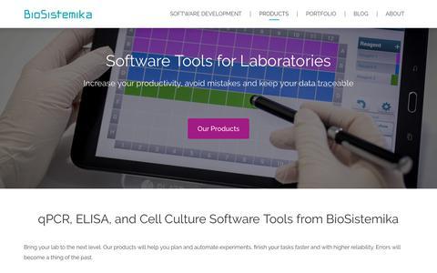 Screenshot of Products Page biosistemika.com - Tools for Laboratories - BioSistemika - captured Aug. 2, 2018