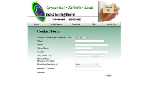 Screenshot of Contact Page a1removal.com - Contact A•1 Valet Waste Removal Services - captured Oct. 4, 2014