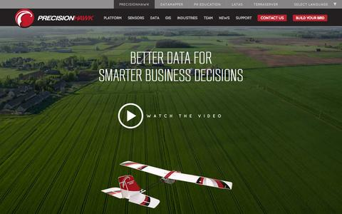 Screenshot of Home Page precisionhawk.com - Precision Agriculture, Commercial UAV and Farm Drones For Sale - captured June 18, 2015