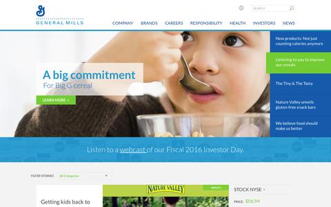 Screenshot of Home Page generalmills.com - General Mills: A U.S.-based food company with global net sales of $17.9 billion, we market quality brands in more than 100 countries on six continents. - captured July 20, 2015