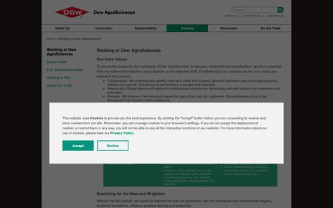 Screenshot of Jobs Page dowagro.com - Careers | Dow AgroSciences - captured Oct. 20, 2018
