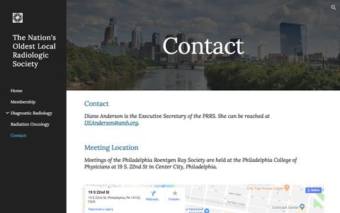 Screenshot of Contact Page google.com - The Nation's Oldest Local Radiologic Society - Contact - captured Feb. 18, 2018