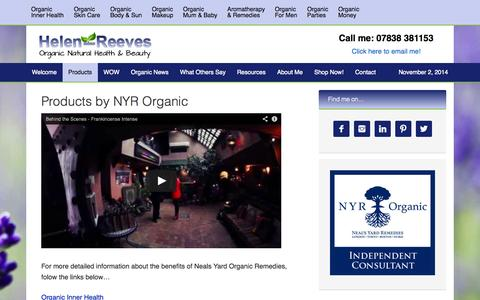 Screenshot of Products Page helen-reeves.co.uk - Products by NYR Organic - captured Nov. 2, 2014