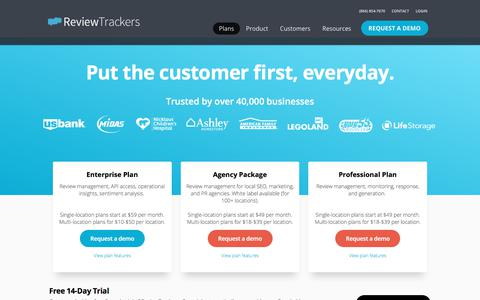 Screenshot of Pricing Page reviewtrackers.com - Plans | ReviewTrackers - captured June 12, 2018