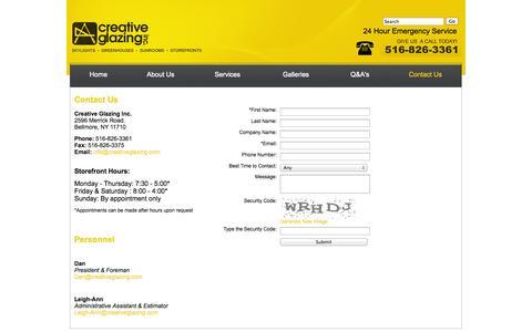 Screenshot of Contact Page creativeglazing.com - Contact Creative Glazing Inc - captured Oct. 3, 2014