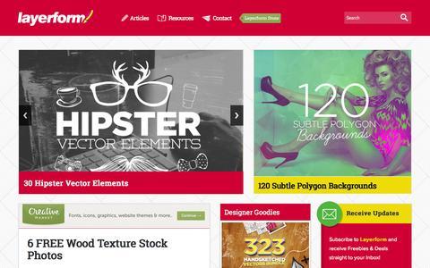 Screenshot of Home Page layerform.com - Creative Content, Graphic Design Resources & Artist Interviews Layerform Design Magazine - captured Sept. 19, 2014