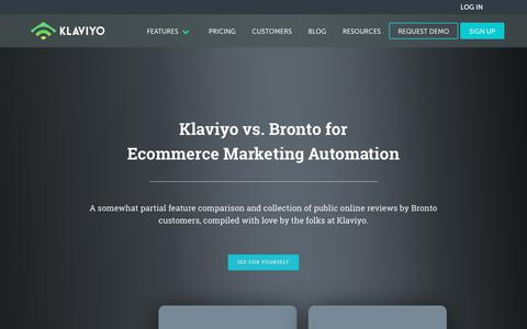 Screenshot of klaviyo.com - Klaviyo vs Bronto - An Ecommerce Marketing Automation Comparison - captured Sept. 15, 2017