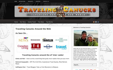 Screenshot of Press Page travelingcanucks.com - Traveling Canucks Interviews and Guest Posts - captured Sept. 19, 2014