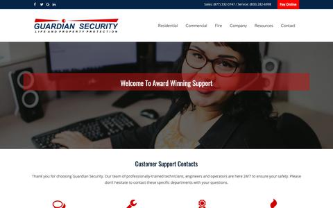 Screenshot of Support Page guardiansecurity.com - Customer Care - Guardian Security Systems - captured Sept. 30, 2018