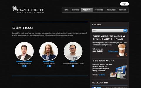 Screenshot of Team Page dvelopit.co.nz - Our Team - Dvelop IT - captured Sept. 30, 2014