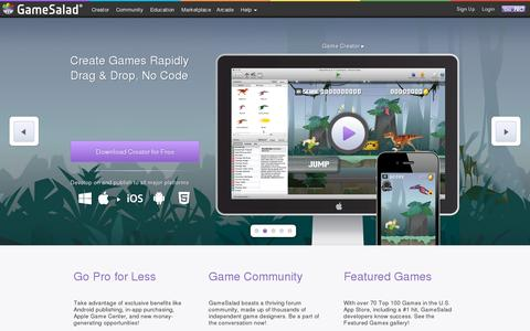Screenshot of Home Page gamesalad.com - Game Design Engine, Make Games for iPhone & Android - GameSalad - captured July 17, 2014