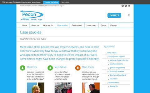 Screenshot of Case Studies Page pecan.org.uk - Case studies - Pecan - captured Dec. 7, 2015