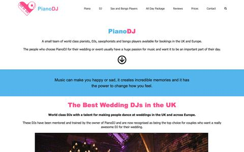 Screenshot of Home Page pianodj.co.uk - PianoDJ - Wedding pianists, Wedding DJs & Grand piano hire - captured Sept. 28, 2018