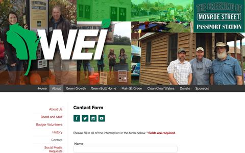 Screenshot of Contact Page weigogreener.org - WEI | About: Contact - captured Jan. 19, 2018