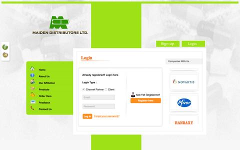 Screenshot of Login Page mdl.co.in - Maiden distributors, pharmaceutical distributors delhi india, medicine wholesalers delhi india, carrying and forwarding agents delhi india - captured Feb. 4, 2016