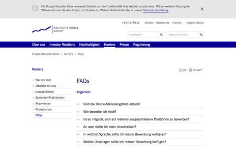 Screenshot of FAQ Page deutsche-boerse.com - Gruppe Deutsche Börse - FAQs - captured July 1, 2017