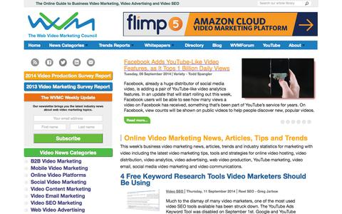 Screenshot of Home Page webvideomarketing.org - Web Video Marketing Council: Online Guide to Business Video - captured Sept. 19, 2014