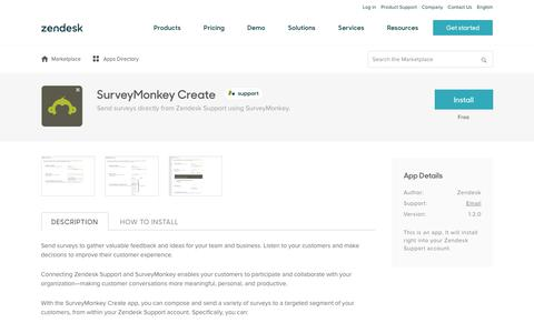 Screenshot of Support Page zendesk.com - SurveyMonkey Create App Integration with Zendesk Support - captured Aug. 4, 2018