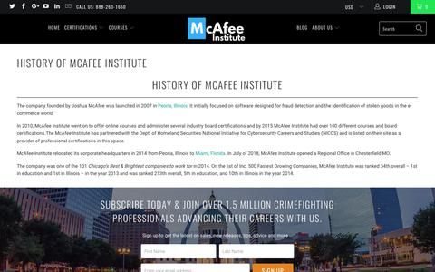 History of McAfee Institute