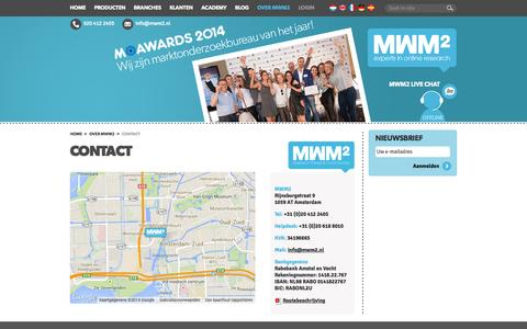Screenshot of Contact Page mwm2.nl - MWM2 - Contactgegevens - captured Sept. 24, 2014