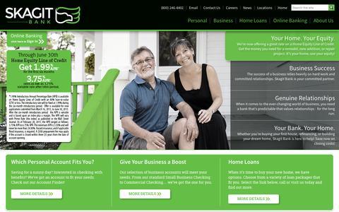 Screenshot of Home Page skagitbank.com - Skagit Bank - Genuine Lasting Relationships - captured June 17, 2015