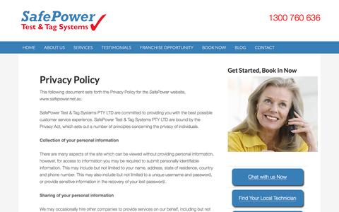 Screenshot of Privacy Page safepower.net.au - Privacy Policy - SafePower - captured Nov. 18, 2016