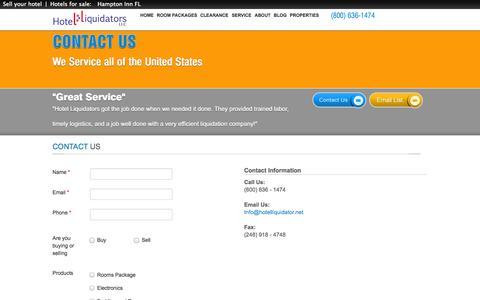 Screenshot of Contact Page hotelliquidator.net - Contact Us | Hotel Liquidators - captured Sept. 30, 2014