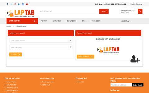 Screenshot of Login Page laptab.com.pk - Laptab | Online Shopping in Pakistan - captured July 16, 2017