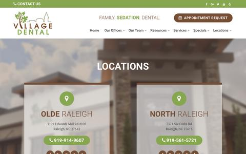 Screenshot of Contact Page Locations Page villagedentalraleigh.com - Locations - Village Dental - captured April 22, 2017