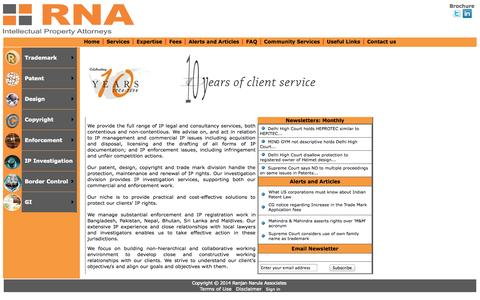 Screenshot of Home Page indiaiprights.com - Ranjan Narula Associates (RNA) - A Leading Intellectual Property (IP) Law Firm in India. IPR Law Firm in Delhi, Trademark, Design, Patent Drafting Filing and Prosecution in India - captured Oct. 6, 2014