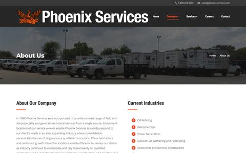 Screenshot of About Page phoenixservices.com - About Us – Phoenix Services - captured July 18, 2018