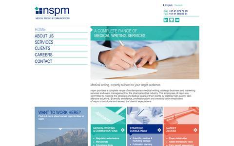 Screenshot of Home Page nspm.com - nspm.ltd - Medical Writing & Communications - captured Oct. 6, 2014