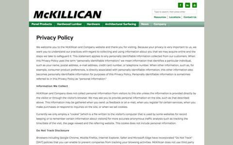 Screenshot of Privacy Page mckillican.com - Privacy Policy | McKillican - captured Nov. 19, 2016