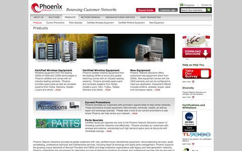 Screenshot of Products Page phoenix-ts.com - Telecommunications Equipment - captured Oct. 2, 2014