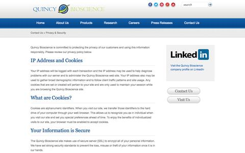 Screenshot of Privacy Page quincybioscience.com - Privacy & Security | Quincy Bioscience - captured Sept. 17, 2014
