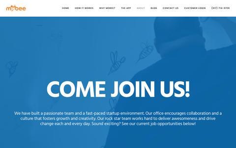 Screenshot of Jobs Page getmobee.com - Careers | Mobee - captured Feb. 21, 2016