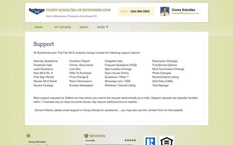 Screenshot of Support Page buyhomes.com - Support | Corey Scholtka of BuyHomes.com - captured Oct. 11, 2017