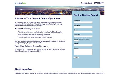 Screenshot of Landing Page intelepeer.com - Transform Your Contact Center Operations | IntelePeer Cloud Communications - captured Feb. 25, 2017