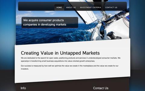 Screenshot of Home Page openwaterventures.com - Open Water Ventures | Creating Value in Untapped Markets - captured Sept. 21, 2018