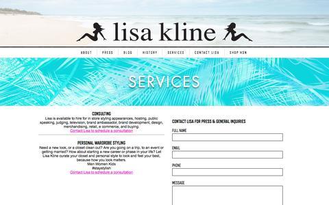 Screenshot of Services Page lisakline.com - Services   Lisa Kline - captured Jan. 23, 2017