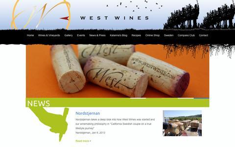 Screenshot of Press Page westwines.com - News & Press - West Wines - captured Oct. 9, 2014